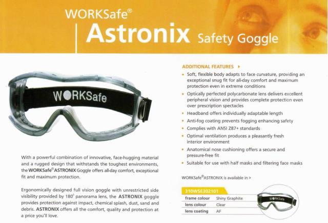 ASTRONIX_WORKSAFE kacamata safety standar international, harga Rp100.000,-